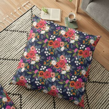 'Boho Floral Pattern' Floor Pillow by ketrena
