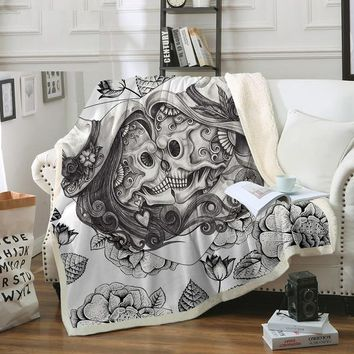 Skull Blanket Gothic Soft Plush Throw Blanket