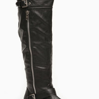 Black Faux Leather Knee High Wonderlust Rider Boots