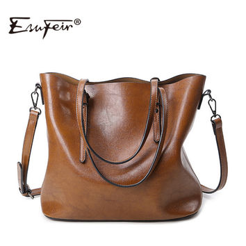 ESUFEIR Brand 2016 Fashion Women Handbag PU Women Bag Large Capacity Oil Wax Leather Shoulder Bag Casual Tote Bag Crossbody Bag