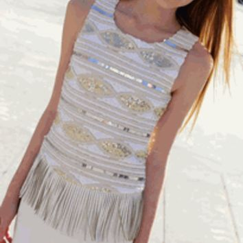 Elisa B Ivory Pleather Fringe Peplum Dress w/Sequins 12 14 *Top Seller* - Elisa B Tween NEW