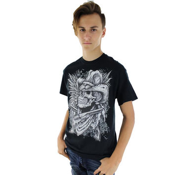 Mens Cowboy Skull Black Short Sleeve T Shirt