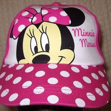 Disney Minnie Mouse Pink Polka Dot Screen Print Adjustable Baseball Cap-New!