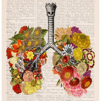 Flowery lungs Poster, A3 poster,anatomical art, Stop smoking art, home decor, Wall art, flower art, No smoking poster, Flower poster BPA3028