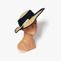 Vintage 30s Straw HAT / 1930s Wide Brim Straw & Navy Hat with rare Lifesavers Trim
