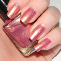 Pink Nail Polish With Golden Shimmer DIVINE by SpectrumCosmetic