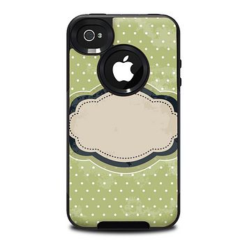 The Vintage Green Polka With Brown Strip Skin for the iPhone 4-4s OtterBox Commuter Case