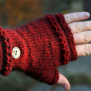 Fingerless mittens in burgundy, handknitted from precious merino possum blend yarn, incredibly soft and warm, for him or  her