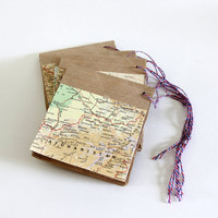 Handmade Map Notepad 35 pgs - Travel Note Book 100% PCW  - Tear Away Map Journal - Tiny Sketch Pad - Rustic Notebook