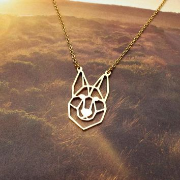 New Trendy Gold Silver Personalized German Shepherd Head Origami Necklace Animal Pendant Hunger Games Necklace Women Best Friend