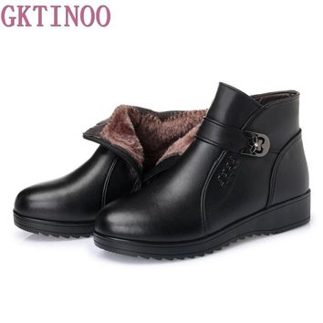 Women Boots 2018 Fashion Shoes Woman Genuine Leather Wedges Ankle Boots Winter Warm Fur Snow Boots Women's Shoes