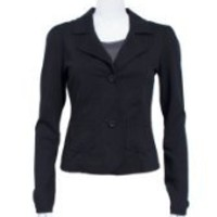 Black Ladies Woven 2 Button Tailored Fit Jacket