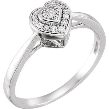 10K White Gold .08 CTW Diamond Heart Multi Stone Halo Style Promise Ring