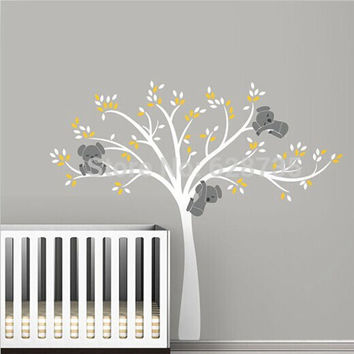 Large Size Bear & Tree Wall Sticker For Kids Koala Cartoon Nursery Daycare Baby Room Vinyl Decor Decal free shipping