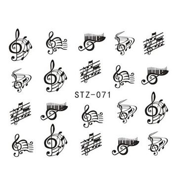 1sheets New Decals DIY Designs Music Notes Crazy Stickers Nail Art Water Mark French Tips Decorations Polish Care Tools STZ071