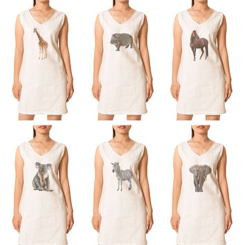 Women's Animal-4 Printed Vintage Short Sleeves Linen Mini Shift Dress WDS_02