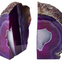 S/2 Large Geode Bookends, Purple
