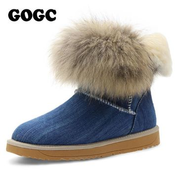 Famous Denim Women's Winter Boots with Fur and Wool Women's Winter Shoes Ankle Boots W