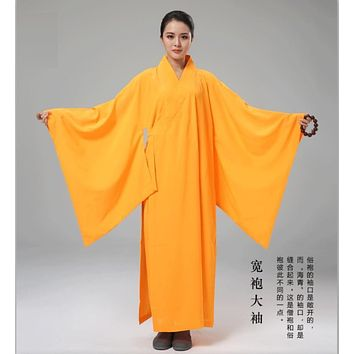 Women Men Buddhism Robe Monk Clothing Frock Hemp Yarn Long Big Sleeve Meditation Buddhist Supply