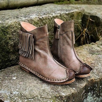 Amourplato Women's Vintage Boots Genuine Leather Short Boots Cowboy Style US5-8