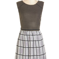 ModCloth Mid-length Sleeveless Twofer From Grid to Great Dress