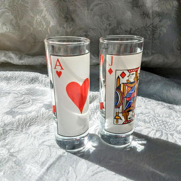 Vintage Jack and Ace shot Glasses, Set of 2 Playing Card Poker Shot Glasses, Casino Man Cave Barware, Vintage Cocktail Poker Night