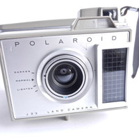 Vintage Polaroid J33 Land Camera - 1960s Gray Camera  / Folding Accordion Photography