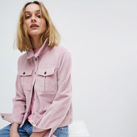Pieces Cord Denim Jacket at asos.com