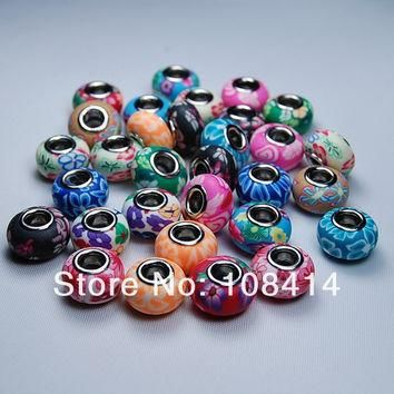 Charms 20PCS/Lot Mixed Color Soft Fimo Polymer Clay fit for Pandora European Bracelet