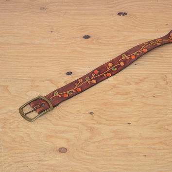 Vintage 70's Belt Hip Floral Motif Tooled Leather Dark Brown & Tan Hand Painted Floral Detail