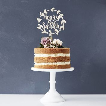Rustic Personalized Wedding Cake Topper