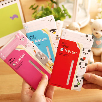 1 x cartoon panda animals memo pad kawaii paper post it sticky notes papelaria stationery school supplies