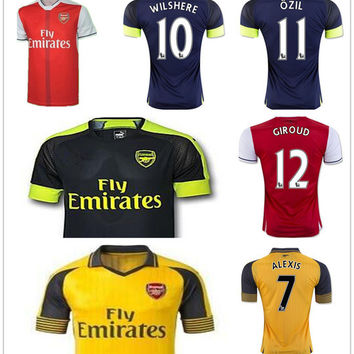 Arsenals Soccer Jersey 7 ALEXIS 11 OZIL 10 WILSHERE12 GIROUD 8 RAMSEY 29 XHAKA Blank Customize Any Name Any Number Football Shirt