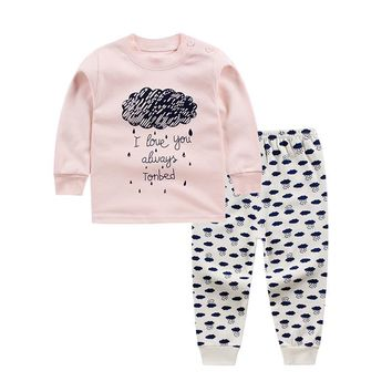 2017 winter new baby girls boys clothes set 2pcs cotton Toddler girls boys Cartoon pajamas Unisex underwear Baby Clothing Set