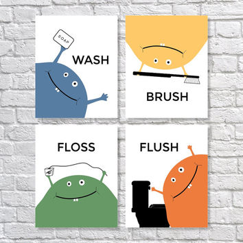 Children's Bathroom Art Prints, Wash Brush Floss Flush, Bathroom Decor, Monster Art Set of Four - 5x7, 8X10, 11x14 Kids Bathroom Art