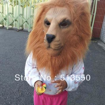Adult Latex Lion Cosplay Costume Halloween Mask with Hair