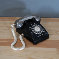 Vintage Rotary Phone / Black Telephone / Silver Handle / Western Electric