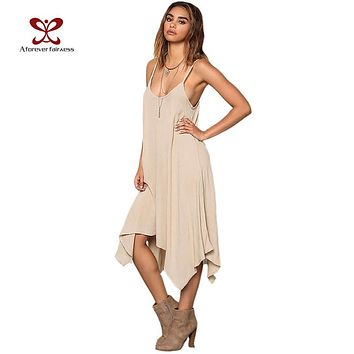 Summer Dress Women Casual Loose Asymmetrical Vestidos Solid Spaghetti Strap Sexy Backless Long Beach Dress