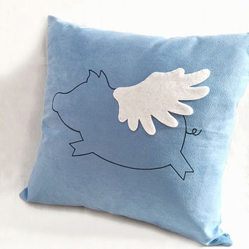 Color Choice. Flying Pig Soft Blue Decorative Pillow Cover. When Pigs Fly 17inch Cushion Cover. Cute Children Room Pillow. Baby Shower Gift