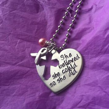 Breast Cancer Necklace - Breast Cancer Jewelry - She believed she could, so she did - Cancer Treatment Gift - Cancer Survivor Gift -