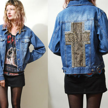 90s Vintage DENIM JACKET Studded Leopard Print by cruxandcrow
