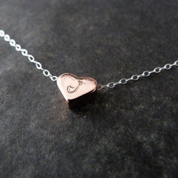 Rose Gold Initial Heart Necklace, Sterlng silver, Tiny Heart, Handstamped Jewelry