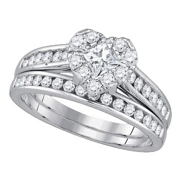 14kt White Gold Princess Diamond Heart Bridal Wedding Engagement Ring Band Set 1-1/4 Cttw - FREE Shipping (US/CAN)
