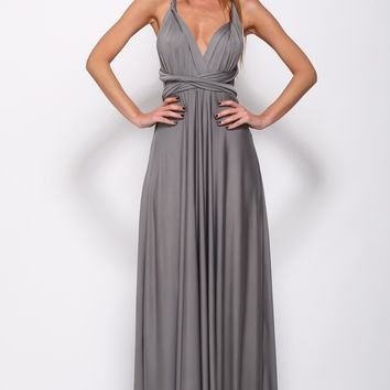 Drinking Vino Maxi Dress Grey