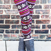 Festive Fair Isle Fur-lined Leggings