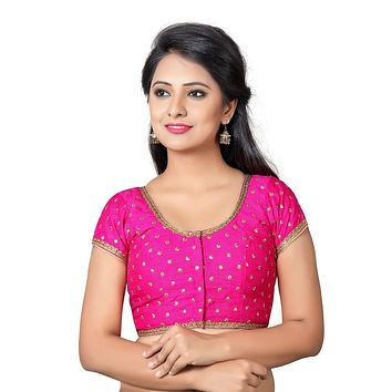 Designer Indian Traditional Pink Dupion Silk Padded  Half Sleeves Saree Blouse Choli (Co-455Sl)