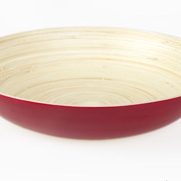 Coiled bamboo plate bowl, red
