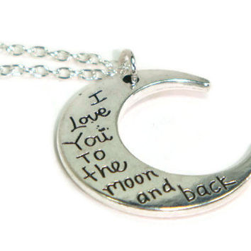 I Love You To The Moon And Back Necklace - Moon And Back Jewelry - Silver Moon Pendant - Best Friend Necklace - Love Jewellery -Friendship