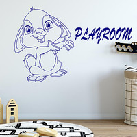 Playroom Wall Decal, Cute Bunny Vinyl, Custom Decal, Kids Room Decal, Gift For Her, Nursery Room Decor, Playroom Decor, Little Gym  nm053
