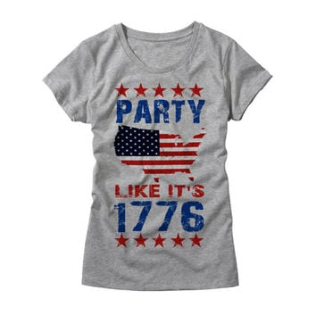 Womens Party Like its 1776 Shirt - Funny Ladies USA TShirt - Womens 4th of July America T-Shirt - Girls Merica Party Shirt